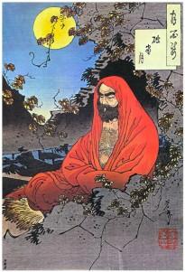 Bodhidharma meditando. Xilografía impresa por Yoshitoshi, 1887.