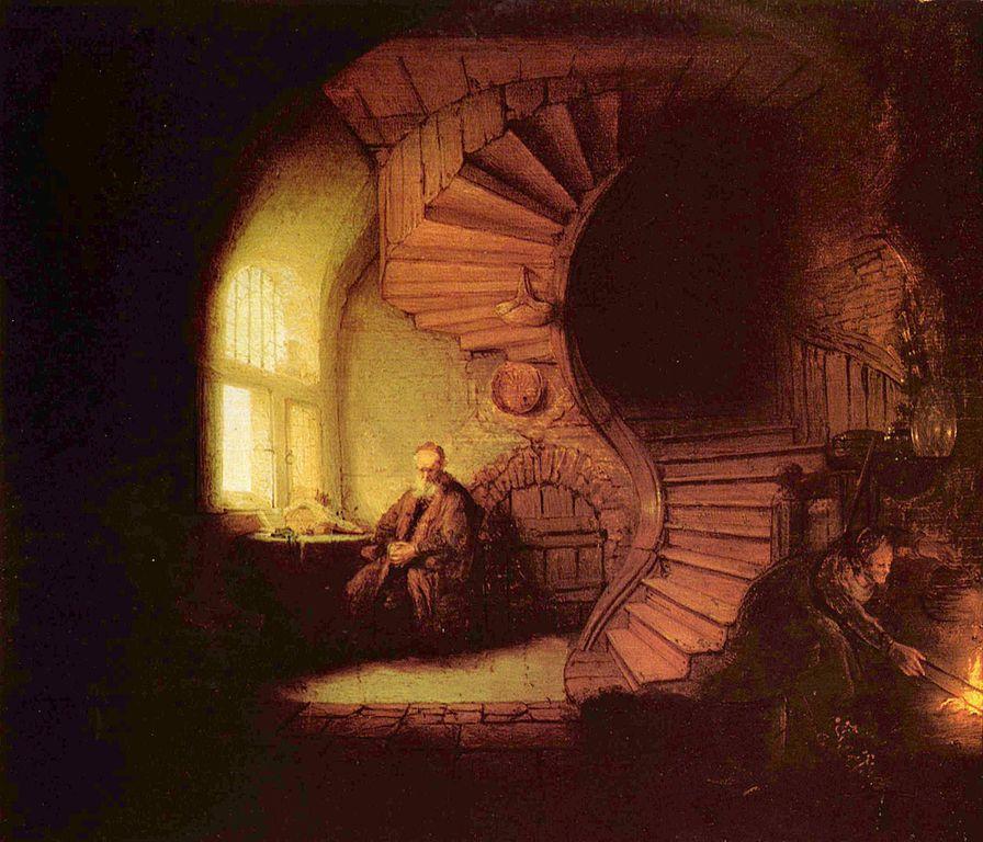 En Filósofo meditando (1632), de Rembrandt, el viejo pensador reflexiona en silencio sobre los misterios de la vida
