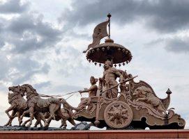 Arjuna en el carro con Krishna